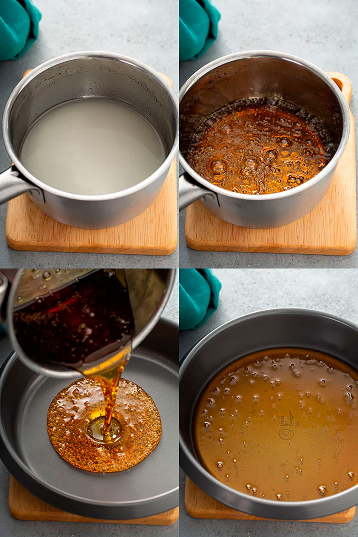 Step by step photos on how to make caramel for flan
