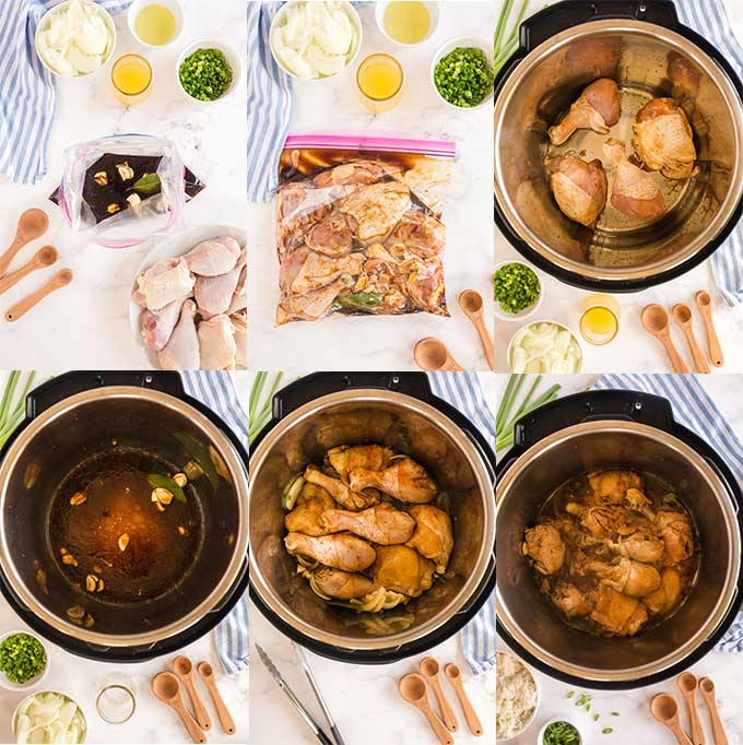 Photos of step by step directions on how to make Filipino Adobo in the pressure cooker/instant pot