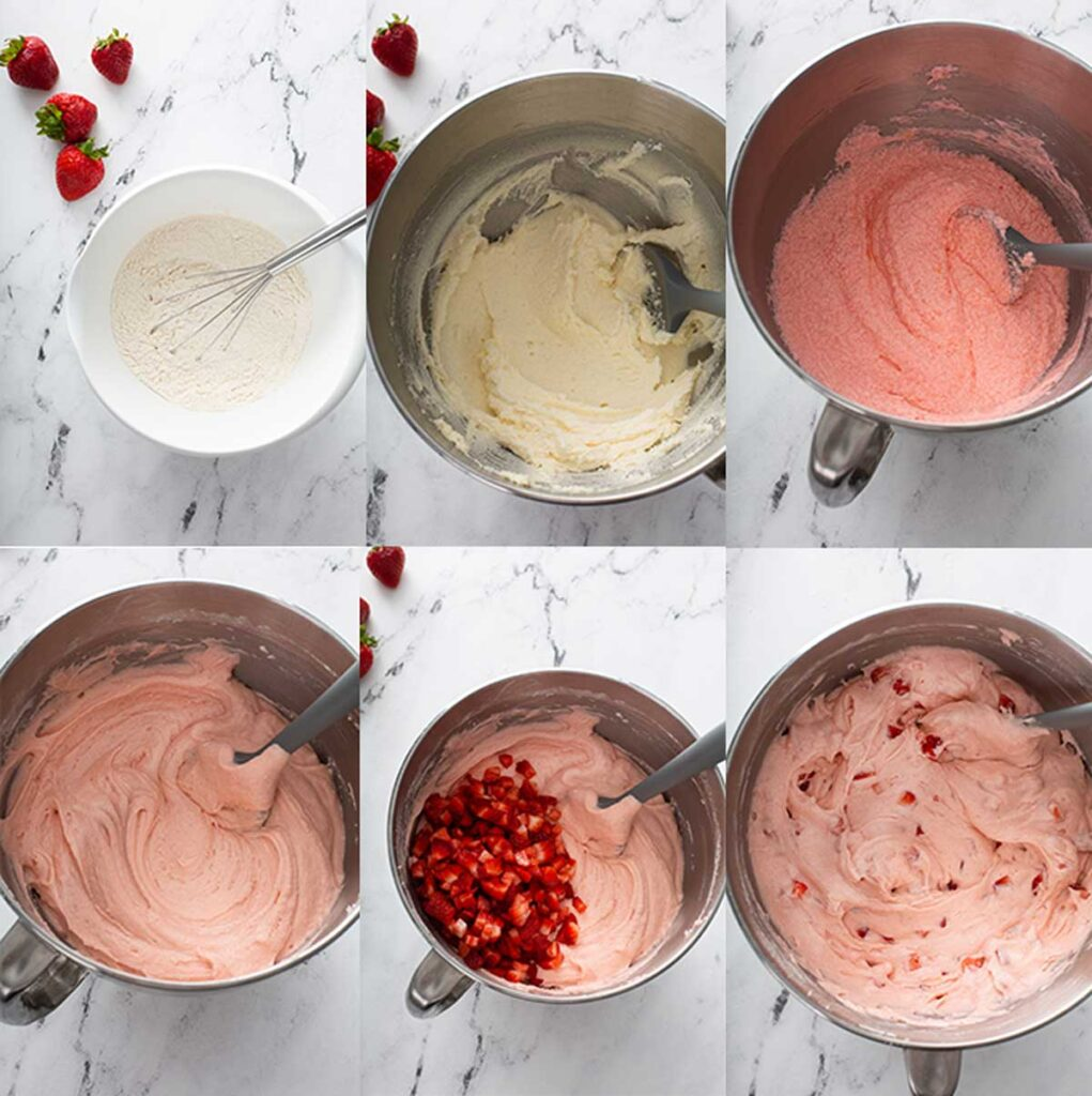 Step by step photos on how to make fresh strawberry cake