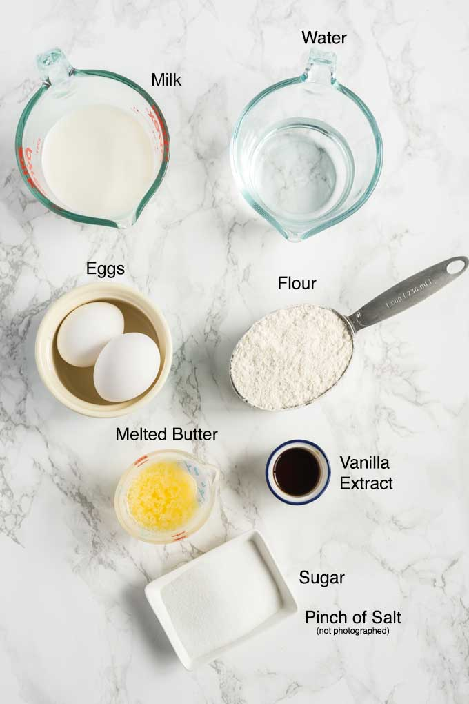 Ingredients to make homemade crepe batter.