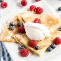 French crepes o a white plate