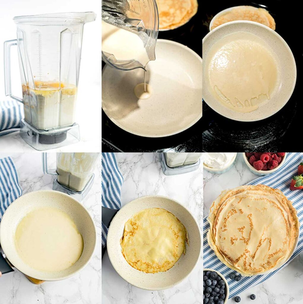 Step by step photos on how to make crepes at home