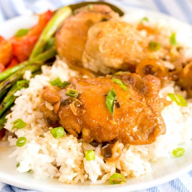 Saucy Filipino Chicken Adobo over steamed white rice