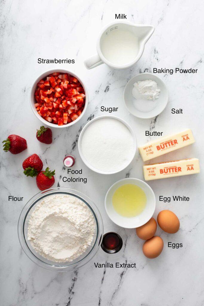 Ingredients to make strawberry cake