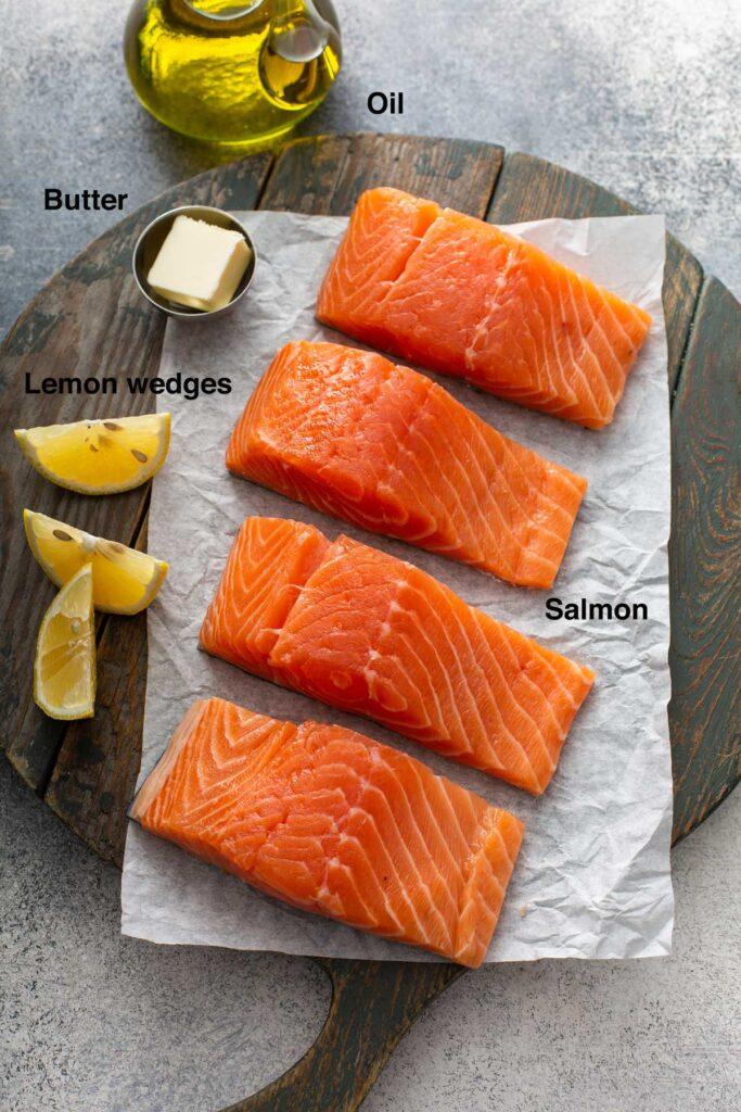 Ingredients to make pan fry salmon