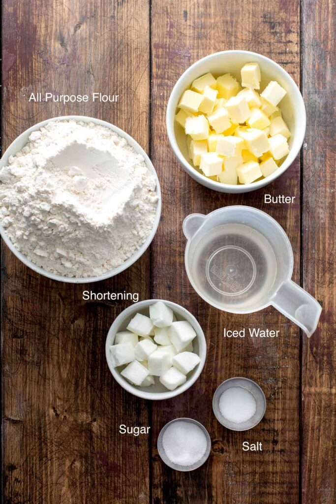 Ingredients to make the perfect pie crust recipe