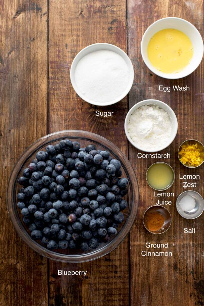 Ingredients to make blueberry pie filling