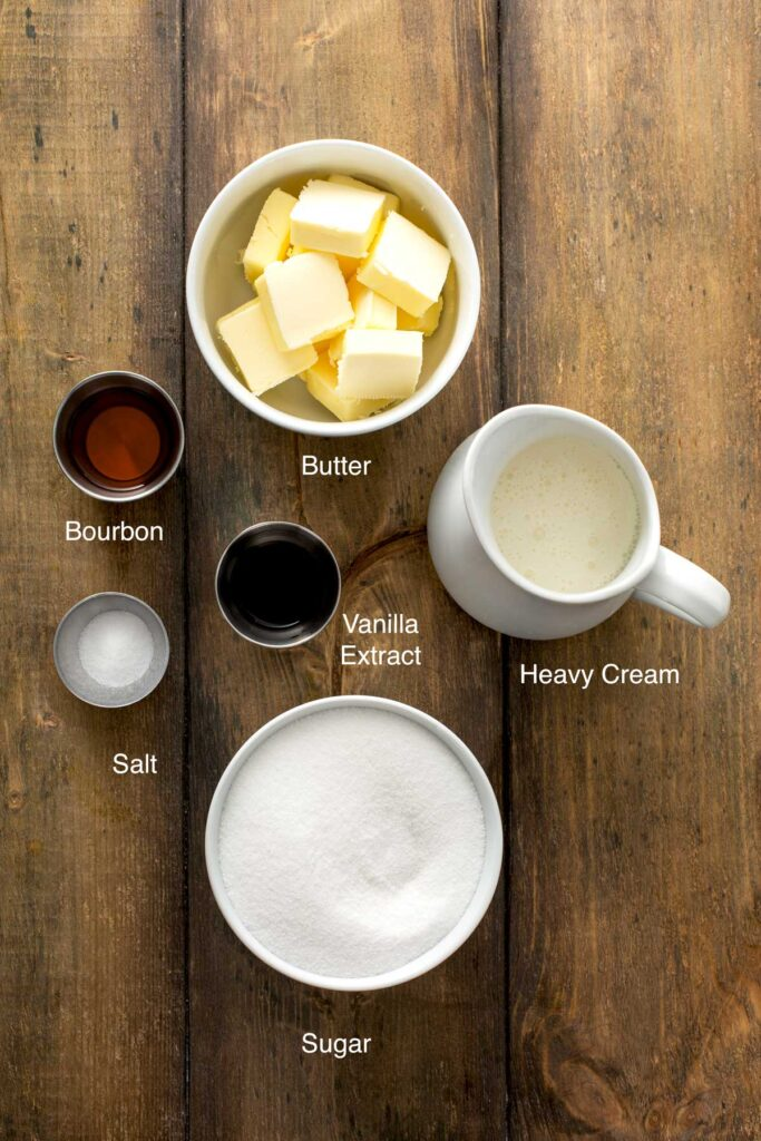 Ingredients to make the most scrumptious Bourbon Caramel sauce to drizzle over southern Peach Pie