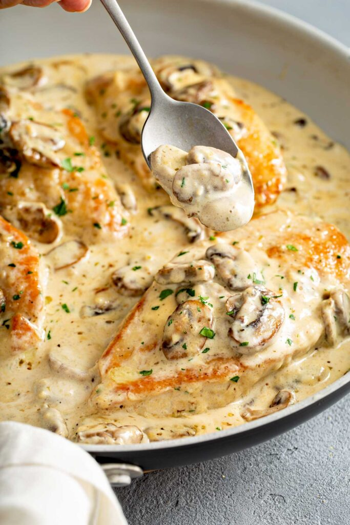 Chicken cutlets with creamy mushroom sauce in a skillet