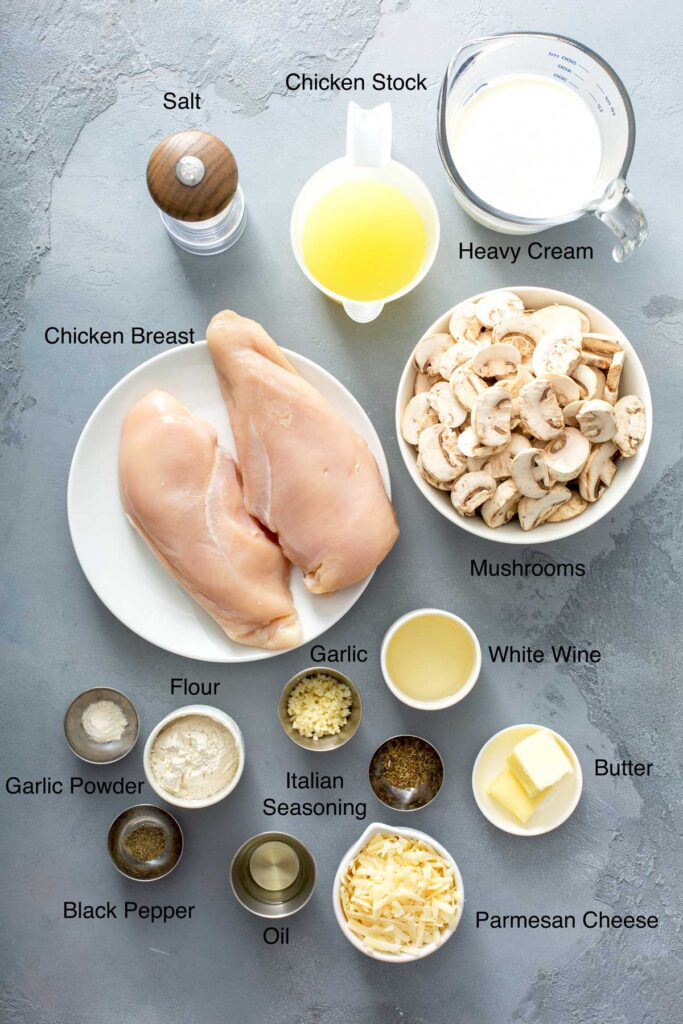 Ingredients to make Sautéed Chicken Breast in Mushroom Sauce