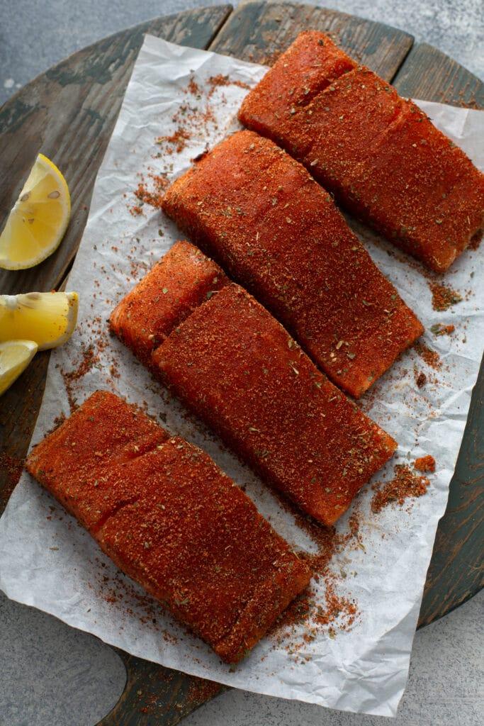 Fillets of salmon with blackening seasoning