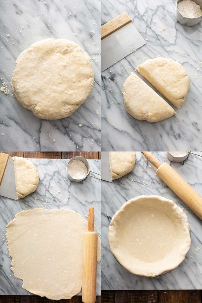 Rolling and assembling the bottom pie crust. Step by step photos