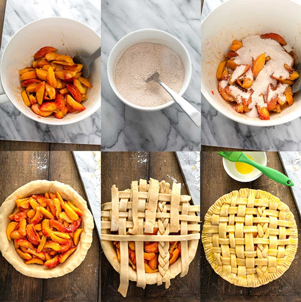 How To make this simple and easy homemade peach pie in step by step photos