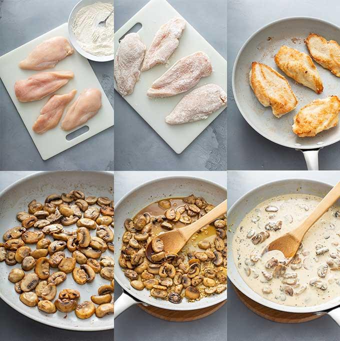 Step by step photos on how to make Creamy Mushroom Chicken