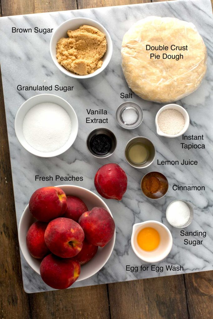 Ingredients needed to make a peach pie from scratch