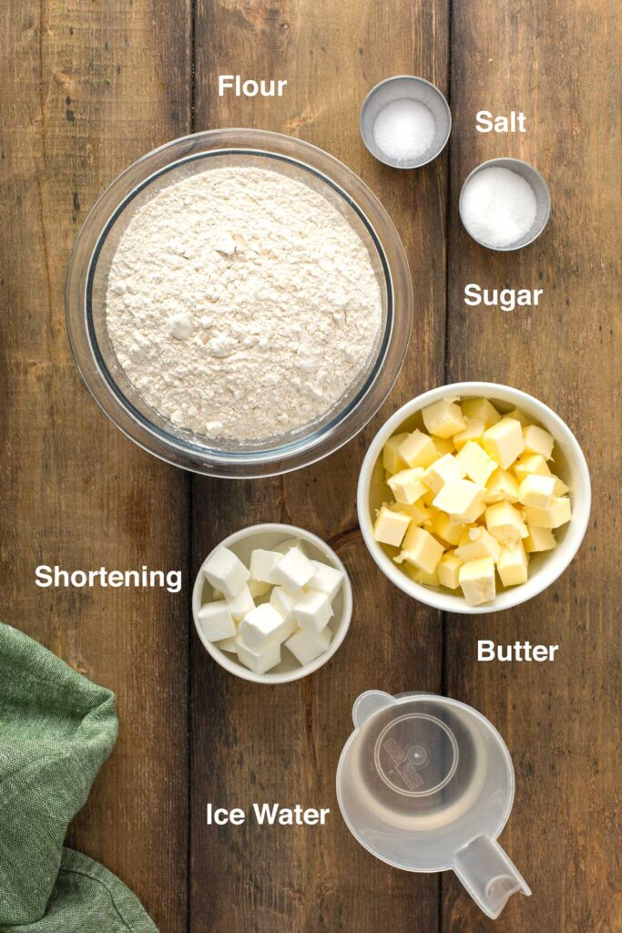 Ingredients to make my perfect homemade pie crust recipe