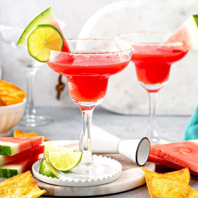 Watermelon margaritas made with fresh watermelon juice and tequila served in classic margarita glassware