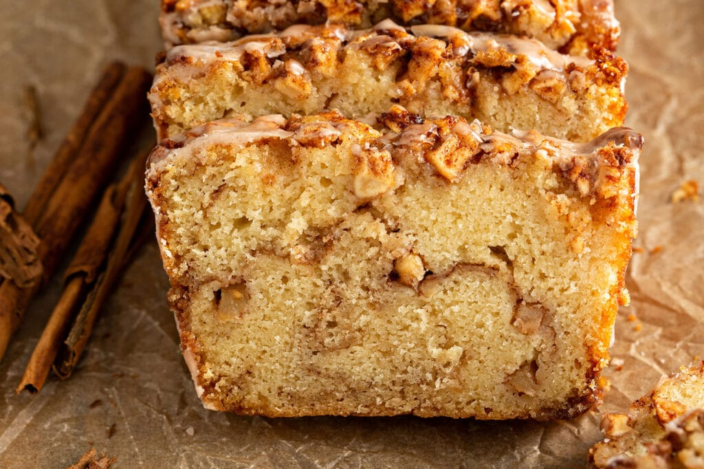 Slices of apple bread with cinnamon sugar