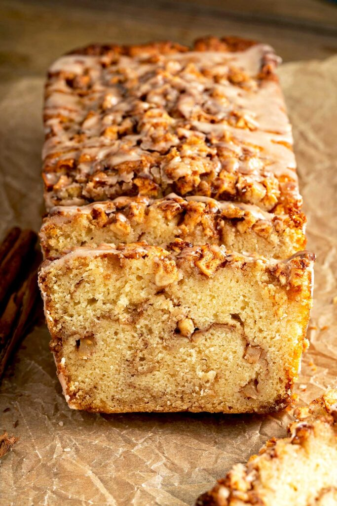 Quick bread with a brown sugar and apple streusel running through the middle of the bread.