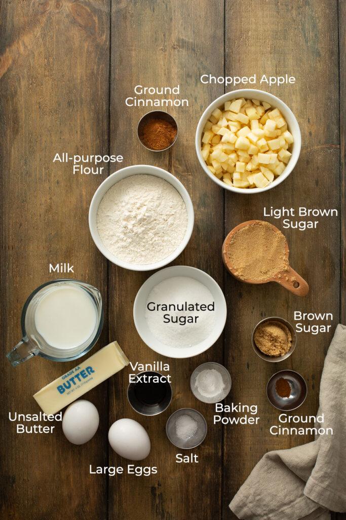 Ingredients to make cinnamon apple bread