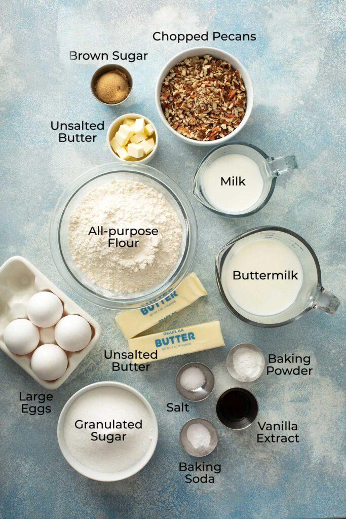 Ingredients to make butter pecan cakes