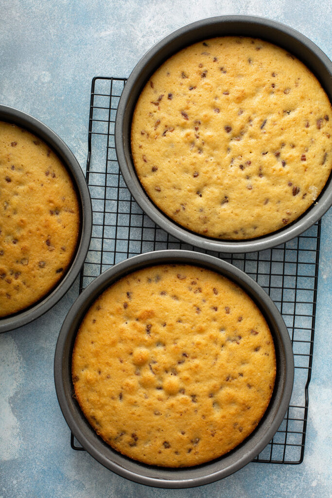 Three 9 inch cakes baked on their baking pans