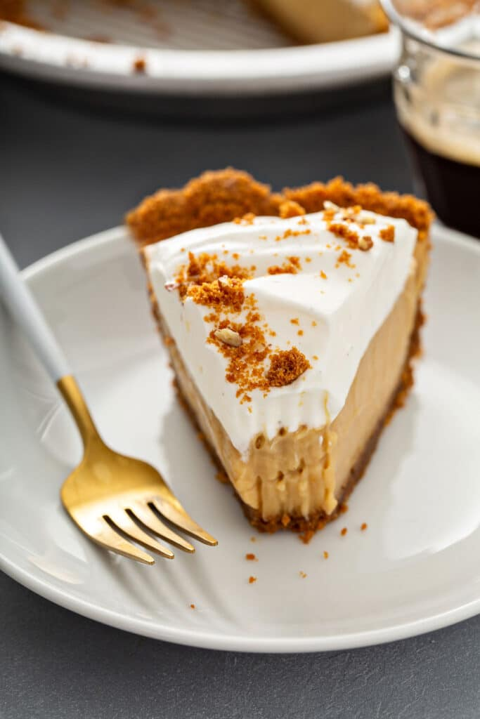 Sliced of silky and creamy butterscotch pie