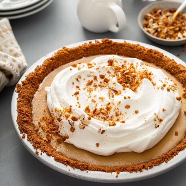 the best butterscotch pie on a pie plate