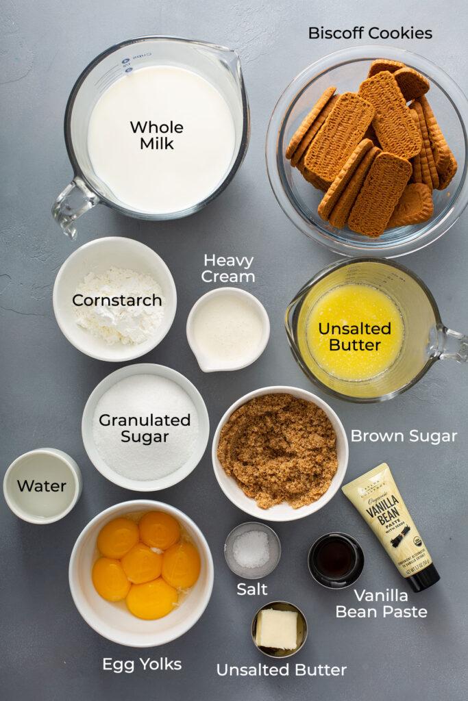 Ingredients to make creamy butterscotch pie