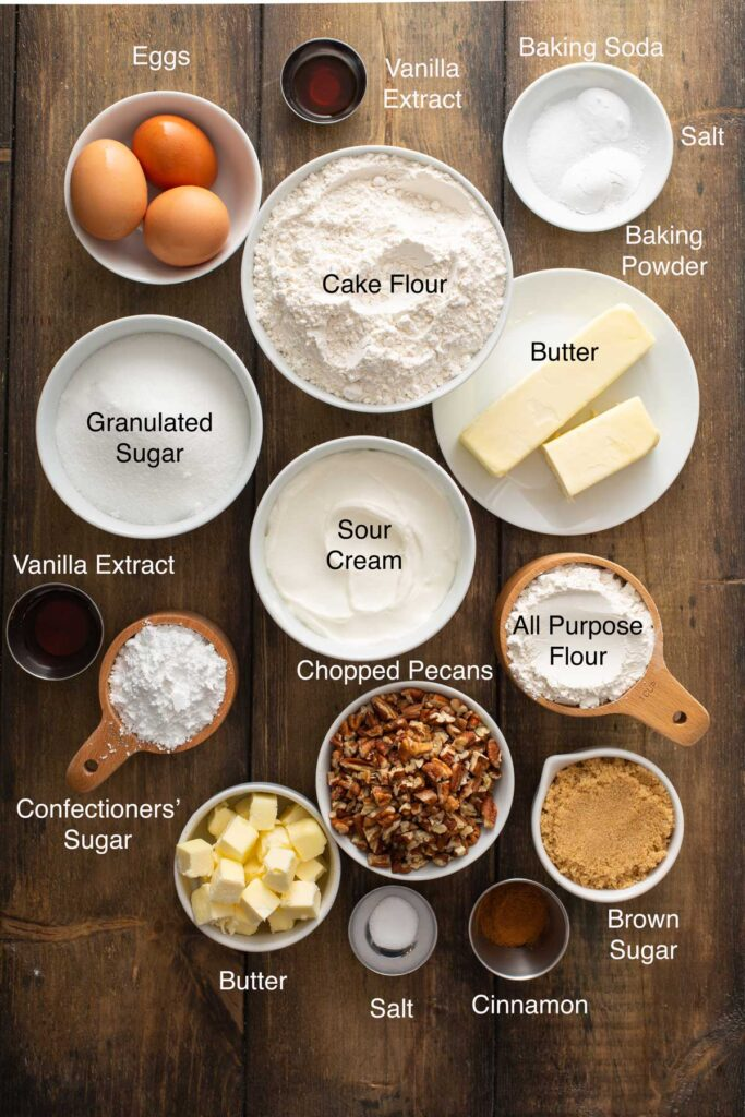 Ingredients needed to make Sour Cream Coffee Cake, the cake streusel crumb topping and the maple glaze