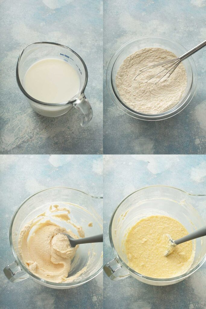 Step by step photos on how to make vanilla cake batter.