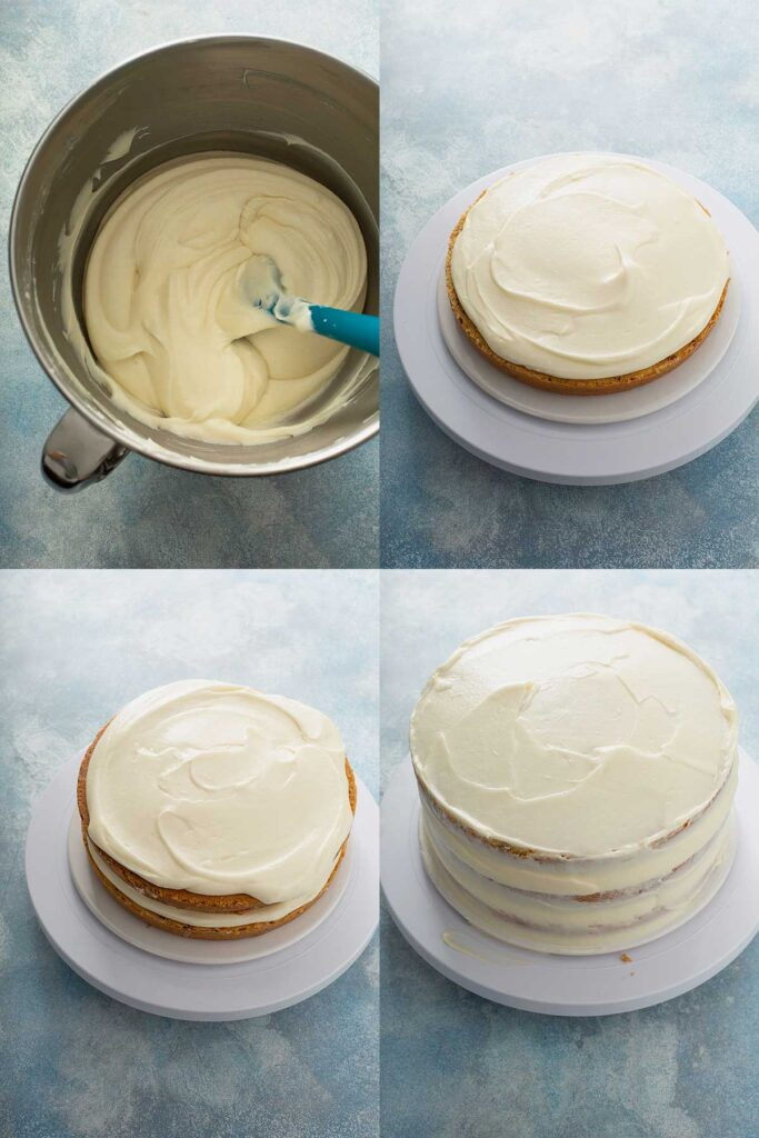 Step by step photos on how to assemble cake filled and frosted with cream cheese icing