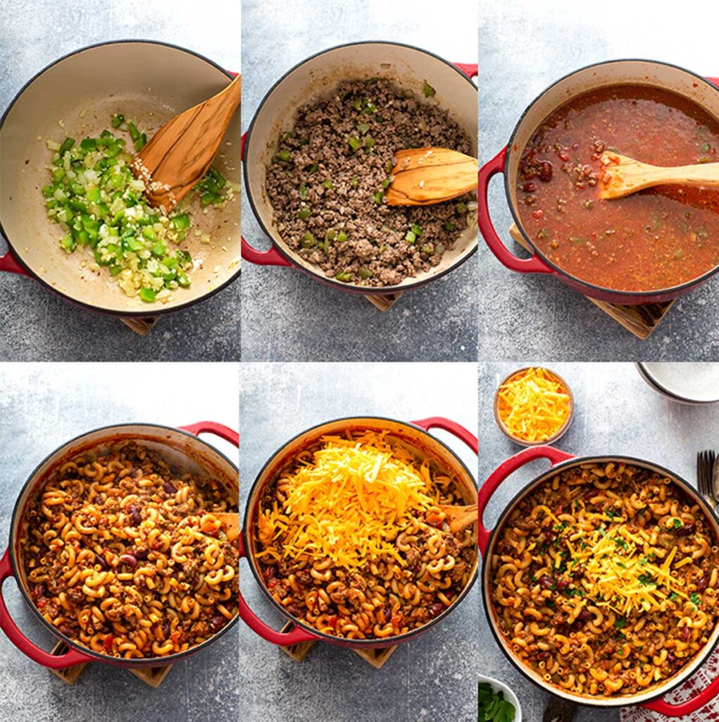 Step by step images on how to make chili mac and cheese in a single pot.