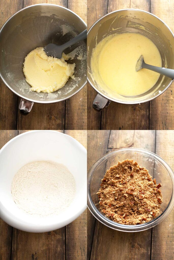 Step by step photos on how to mix coffee cake batter and streusel