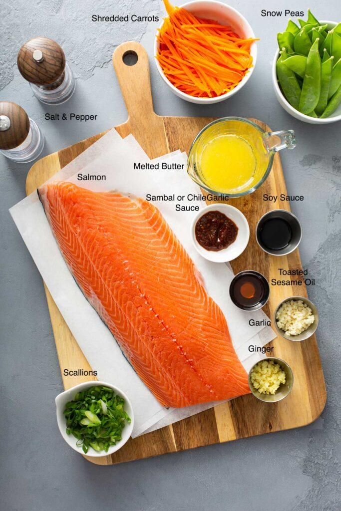 Ingredients to make Baked salmon in foil with vegetables