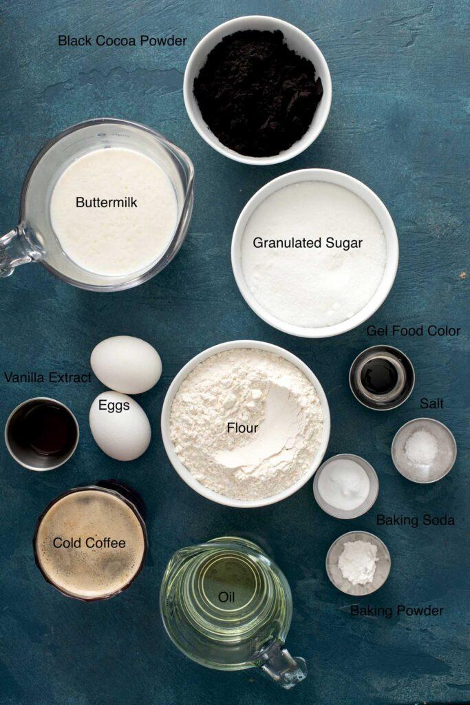 Ingredients for making black velvet cake