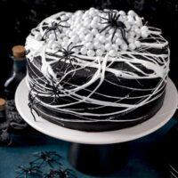 Black velvet cake on a cake platter