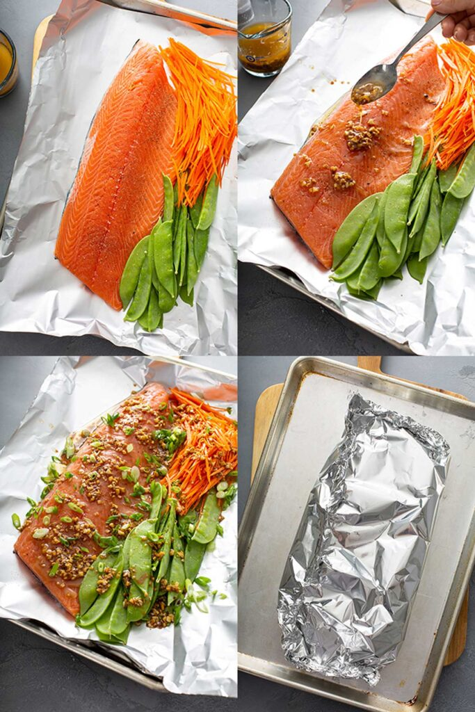 Collage of step by step photos of how to make this salmon recipe baked in foil.