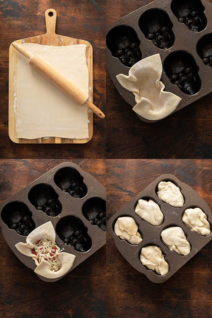 Step by step photos on how to make halloween pizza skulls.