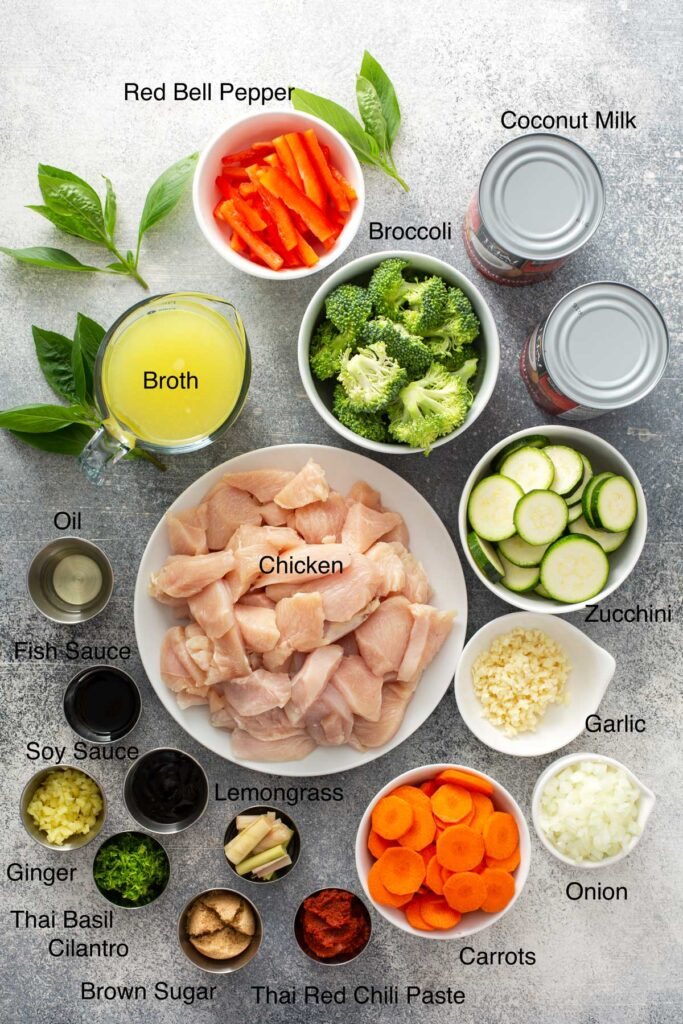 Ingredients to make Thai Coconut Curry with chicken